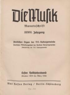 Die Musik : Monatsschrift, 1935/1936, Jg. XXVIII.