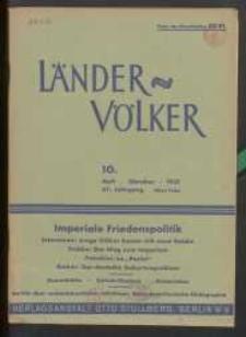 Länder und Völker, 10. Heft/Oktober 1937