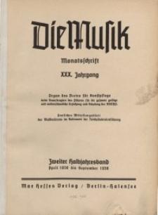 Die Musik : Monatsschrift, 1938, Jg. XXX.