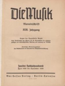 Die Musik : Monatsschrift, 1939, Jg. XXXI.