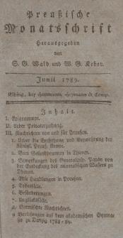 Preußische Monatsschrift, Juni 1789