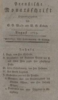Preußische Monatsschrift, August 1789