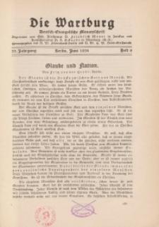 Die Wartburg. Deutsch-evangelische Monatsschrift, Heft 6, Juni 1934