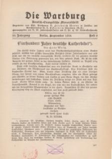 Die Wartburg. Deutsch-evangelische Monatsschrift, Heft 9, September 1934