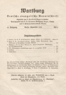 Die Wartburg. Deutsch-evangelische Monatsschrift, Heft 9, September 1936