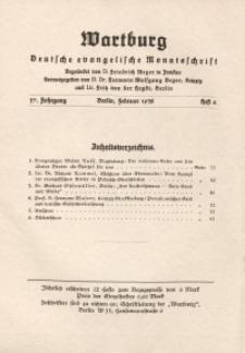 Die Wartburg. Deutsch-evangelische Monatsschrift, Heft 2, Februar 1938
