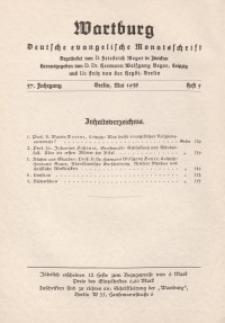 Die Wartburg. Deutsch-evangelische Monatsschrift, Heft 5, Mai 1938