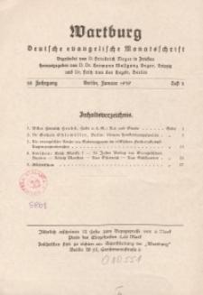 Die Wartburg. Deutsch-evangelische Monatsschrift, Heft 1, Januar 1939