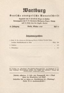 Die Wartburg. Deutsch-evangelische Monatsschrift, Heft 10, Oktober 1939