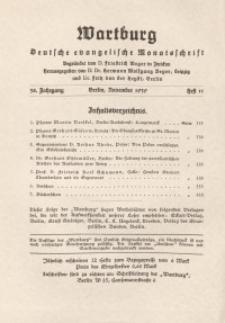 Die Wartburg. Deutsch-evangelische Monatsschrift, Heft 11, November 1939