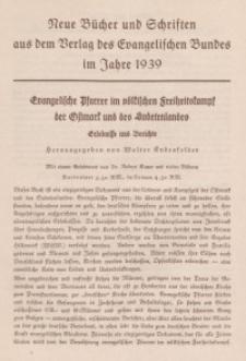 Neue Bücher und Schriften aus dem Verlag des Evangelischen Bundes im Jahre 1939 [ulotka reklamowa]