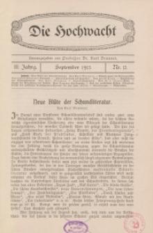 Die Hochwacht : Monatsschrift zur Pflege der geistigen und sittlichen Volksgesundheit, 3. Jg., 1913, H. 12.