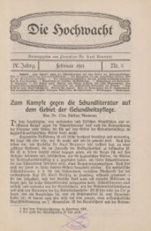 Die Hochwacht : Monatsschrift zur Pflege der geistigen und sittlichen Volksgesundheit, 4. Jg., 1914, H. 5.