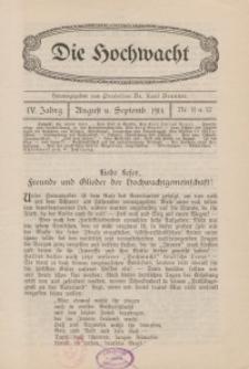 Die Hochwacht : Monatsschrift zur Pflege der geistigen und sittlichen Volksgesundheit, 4. Jg., 1914, H. 11-12.