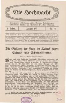 Die Hochwacht : Monatsschrift zur Pflege der geistigen und sittlichen Volksgesundheit, 1. Jg., 1911, Nr 4.