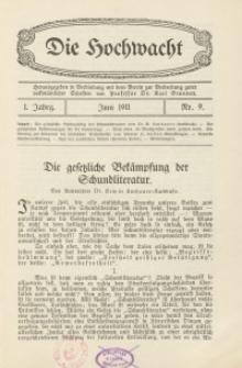 Die Hochwacht : Monatsschrift zur Pflege der geistigen und sittlichen Volksgesundheit, 1. Jg., 1911, Nr 9.