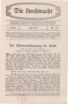 Die Hochwacht : Monatsschrift zur Pflege der geistigen und sittlichen Volksgesundheit, 1. Jg., 1911, Nr 10.
