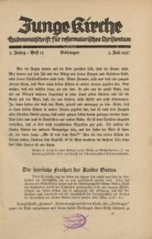 Junge Kirche, 1937/ Heft 13