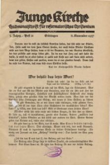 Junge Kirche, 1937/ Heft 21
