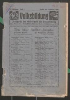 Volksbildung : Zeitschrift der Gesellschaft für Volksbildung, Jg. 56. 1926, H. 9