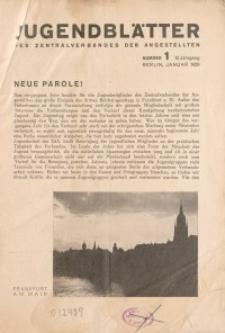 Jugend-Blätter des Zentralverbandes der Angestellten, 10. Jahrgang, 1929, H. 1 (Januar).