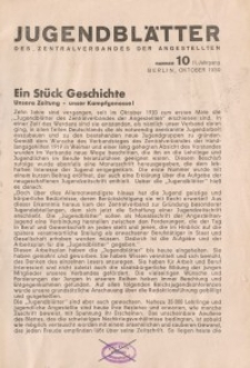 Jugend-Blätter des Zentralverbandes der Angestellten, 11. Jahrgang, 1930, H. 10 (Oktober).