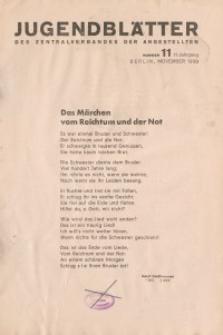 Jugend-Blätter des Zentralverbandes der Angestellten, 11. Jahrgang, 1930, H. 11 (November).