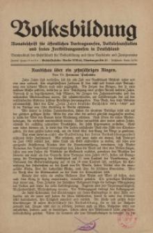 Volksbildung : Zeitschrift der Gesellschaft für Volksbildung, Jg. 58. 1928, [H. 11]