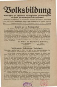 Volksbildung : Zeitschrift der Gesellschaft für Volksbildung, Jg. 60. 1930, [H. 7]