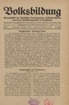 Volksbildung : Zeitschrift der Gesellschaft für Volksbildung, Jg. 60. 1930, [H. 10]