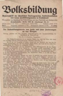 Volksbildung : Zeitschrift der Gesellschaft für Volksbildung, Jg. 62. 1932, [H. 8]
