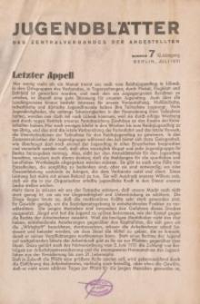 Jugend-Blätter des Zentralverbandes der Angestellten, 12. Jahrgang, 1931, H. 7 (Juli).