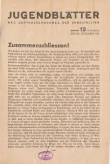 Jugend-Blätter des Zentralverbandes der Angestellten, 12. Jahrgang, 1931, H. 12 (Dezember).