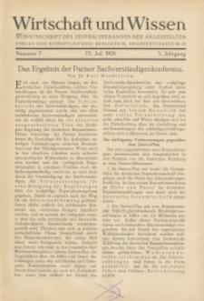 Wirtschaft und Wissen, 1929, H. 7
