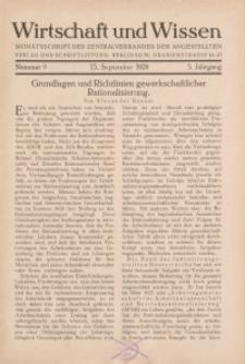 Wirtschaft und Wissen, 1929, H. 9