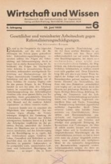 Wirtschaft und Wissen, 1930, H. 6