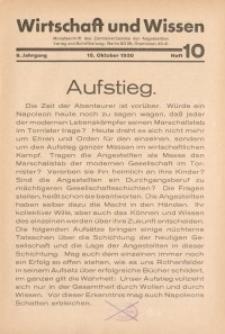 Wirtschaft und Wissen, 1930, H. 10