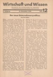 Wirtschaft und Wissen, 1930, H. 12