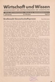Wirtschaft und Wissen, 1931, H. 10