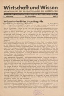 Wirtschaft und Wissen, 1931, H. 11