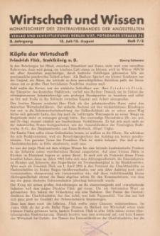 Wirtschaft und Wissen, 1932, H. 7/8