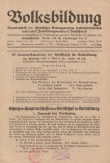 Volksbildung : Zeitschrift der Gesellschaft für Volksbildung, Jg. 63. 1933, [H. 4]