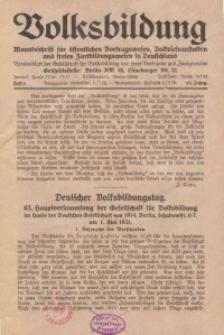 Volksbildung : Zeitschrift der Gesellschaft für Volksbildung, Jg. 63. 1933, [H. 6]