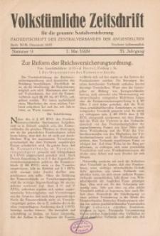 Volkstümliche Zeitschrift für die gesamte Sozialversicherung, 35. Jahrgang, 1929, H. 9
