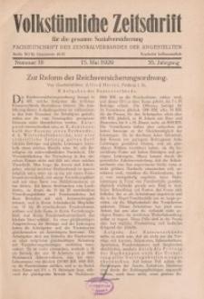 Volkstümliche Zeitschrift für die gesamte Sozialversicherung, 35. Jahrgang, 1929, H. 10