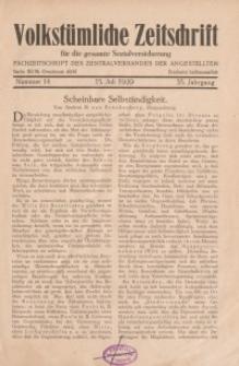 Volkstümliche Zeitschrift für die gesamte Sozialversicherung, 35. Jahrgang, 1929, H. 14