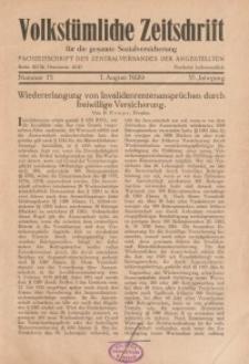 Volkstümliche Zeitschrift für die gesamte Sozialversicherung, 35. Jahrgang, 1929, H. 15