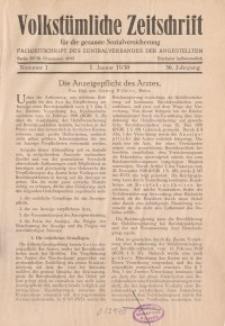 Volkstümliche Zeitschrift für die gesamte Sozialversicherung, 36. Jahrgang, 1930, H. 1