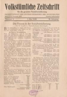 Volkstümliche Zeitschrift für die gesamte Sozialversicherung, 36. Jahrgang, 1930, H. 9