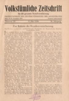 Volkstümliche Zeitschrift für die gesamte Sozialversicherung, 36. Jahrgang, 1930, H. 10